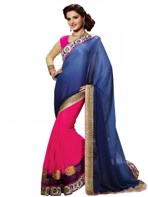 Shonaya Blue And Pink Colour Georgette Embroidered Sarees With Blouse Piece SGVCT-7558-A