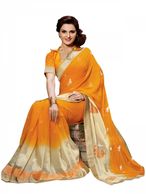 Shonaya Orange Colour Georgette Embroidered Sarees With Blouse Piece SGVCT-7559-A