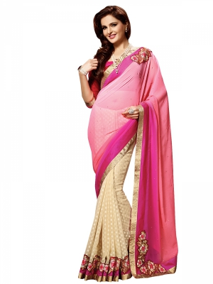 Shonaya Pink And Beige Colour Georgette Embroidered Sarees With Blouse Piece SGVCT-7560-A