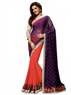 Shonaya Tomato And Violet Colour Georgette Embroidered Sarees With Blouse Piece SGVCT-7561-A