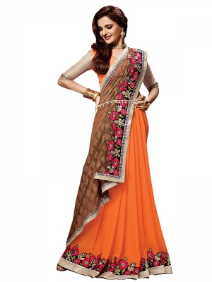 Shonaya Orange And Tan Colour Georgette Embroidered Sarees With Blouse Piece SGVCT-7561-B
