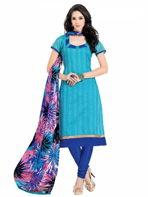 Shonaya SkyBlue Colour Embroidered Chanderi Dress Material VIMAG-2-11001