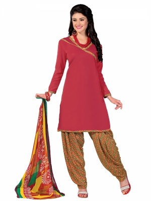 Shonaya Red Colour Printed Creape Dress Material VIVT4-260