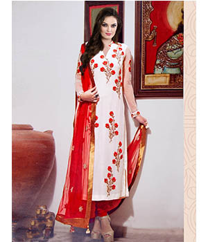 Fabliva Latest Embroidered Designer White And Red Straight Suits  FAS172-3107