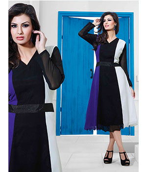 Fabliva Latest Heavy Black Designer Stitched Kurtis FDK102-105