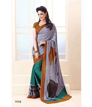 Fabliva New Arrival Attractive Violet And Aqua Designer Saree FDS107-1119