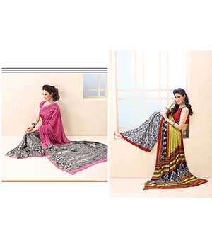 Fabliva Latest Attractive Combo Pink And Yellow Designer Saree  FDS114-1118-1127
