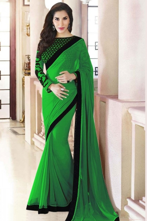 Whatshop Amazing Green Designer Shophie Chaudhary Saree WFS1004-08