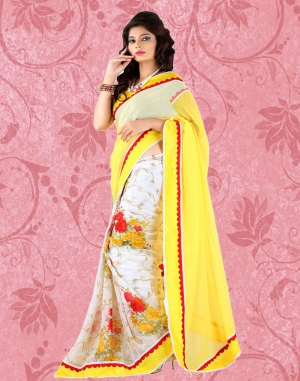 Whatshop Yellow Chiffon Fashionable Saree WFS1025