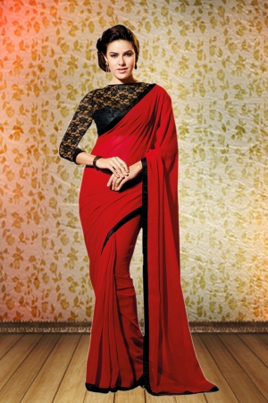 Whatshop Simple Designer Chiffon Red And Black Saree WFS1027