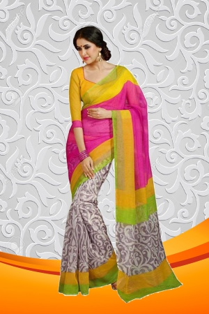Whatshop Printed Silk Multi-Colour Saree WFS1046