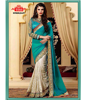 Indian Designer Beautiful Party Wear Georgete And Dupian Saree Net Blouse Work Multi And Sequence 9366