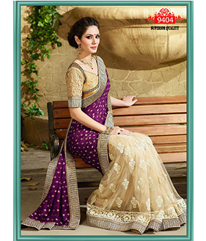 Indian Designer Chinon Jaquacrd And Net Saree Net Blouse Work Multi And Sequence  9404