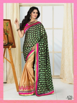 Outstanding Half Coating Chickoo Satin Georgette With Brasso 670