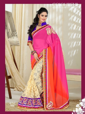 Colourful Raschel Half-Half With Pink And Orange Padding Georgette 676