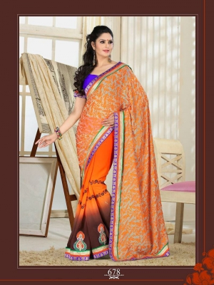 Elegant Orange Brasso With Patch And Embroidery 678