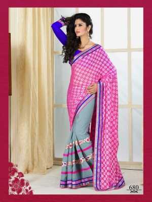 Stylish Pink With Soft Grey Georgette 680