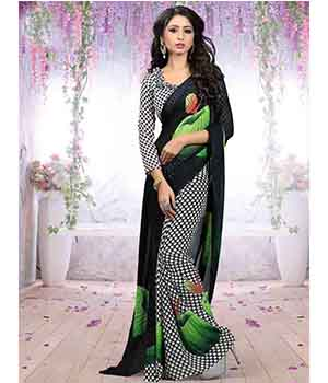 Craftliva Gorgeous New Attractive Black And Green Printed Saree 116CDS103C