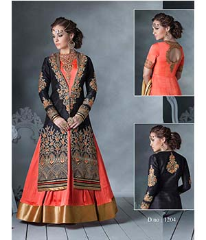 Craftliva New Stylish And Attractive Black And Orange Indo-Western Style Suit 167CAS1204