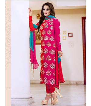 Craftliva Latest Embroidered Designer Red And Pink Straight Suits 172CAS3104