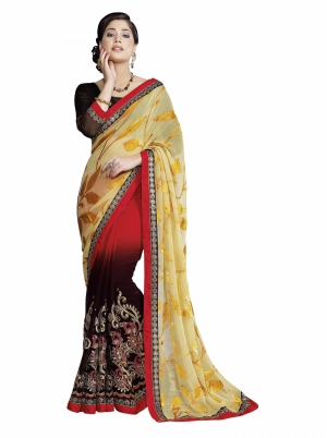 Manvaa Unstitched Yellow Georgette Sarees CB9518