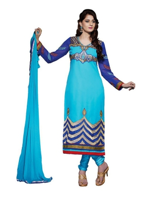 Appealing Blue Georgette Salwar Suit With Embroidery Work KDC1007