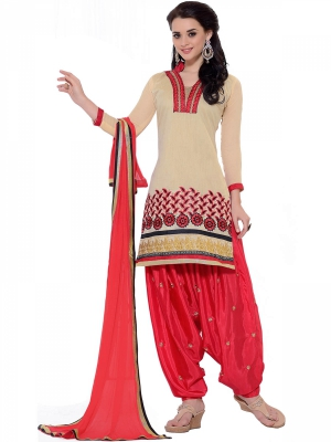 Beautifull Dazzling Beige Cotton Salwar Suit With Embroidery Work KQ1007