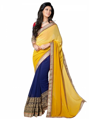 shonaya  Yellow And Blue Colour Designer Chiffon Embroidery Work Sarees With Blouse Piece AB300-3015