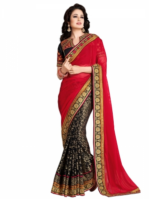 shonaya  Red And Balck Colour Designer Chiffon Embroidery Work Sarees With Blouse Piece AB300-3021