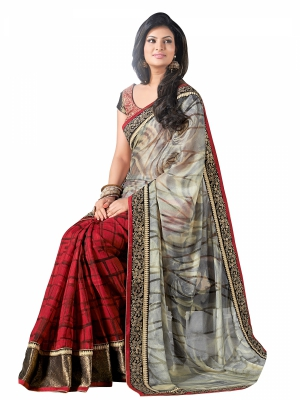 shonaya  Red And Cream Colour Designer Georgette Printed Work Sarees With Blouse Piece AB300-3026