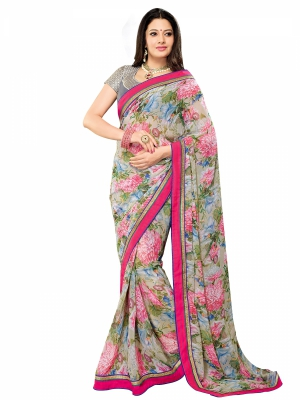 shonaya  Multicolor Designer Georgette Embroidery Work Sarees With Blouse Piece AB310-3101