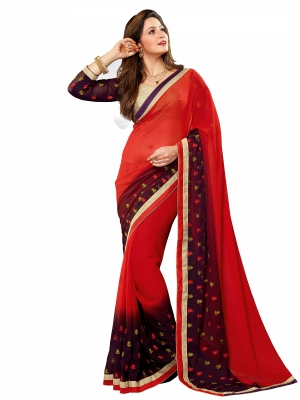 shonaya  Red And Brown Colour Designer Georgette Embroidery Work Sarees With Blouse Piece AB310-3111