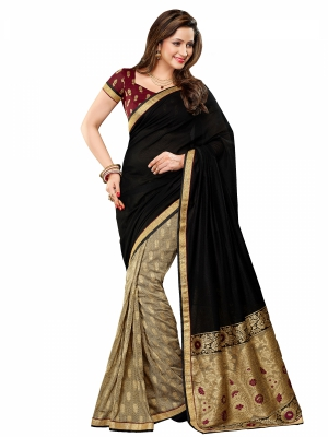 shonaya  Black And Tan Colour Designer Georgette Embroidery Work Sarees With Blouse Piece AB310-3119
