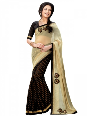 shonaya  Almond And Black Colour Jacquard Embroidered Sarees With Blouse Piece BTYHM-5176