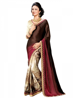 shonaya  Multicolour Silk Embroidered Sarees With Blouse Piece BTYHM-5178