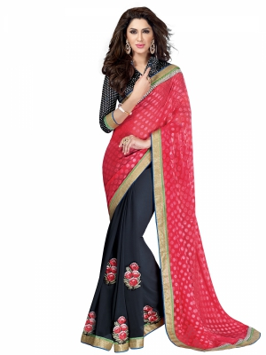 shonaya  Red And Black Colour Chiffon Patch Work Sarees With Blouse Piece HIIMX-6005