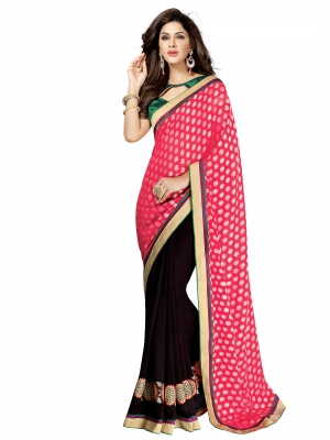 shonaya  Brown And Pink Colour Georgette Heavy Embroidered Sarees With Blouse Piece HIIMX-6017