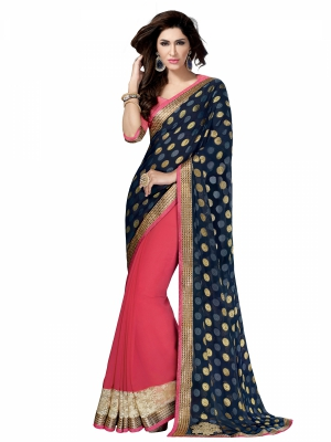 shonaya  Lightcoral And Blue Colour Georgette Patch Work Sarees With Blouse Piece HIIMX-6019