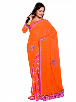 shonaya  Orange Colour Georgatte Patch Work Sarees With Blouse Piece PINNS-2009