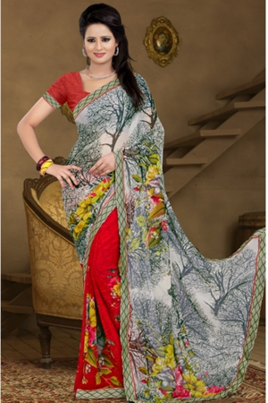 A G Lifestyle Gray And Red Faux Georgette Saree with Unstitched Blouse AAY1015