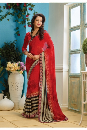 A G Lifestyle Red Faux Georgette Saree with Unstitched Blouse AKS2014