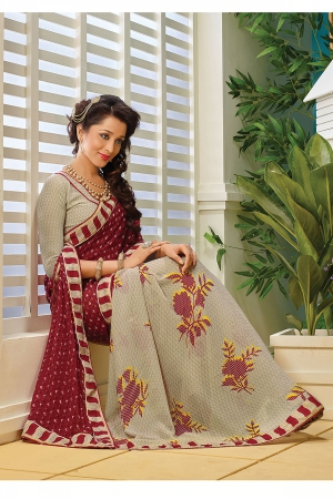A G Lifestyle Off white And Maroon Faux Georgette Saree with Unstitched Blouse AKS2019