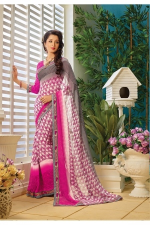 A G Lifestyle Off white And Pink Faux Georgette Saree with Unstitched Blouse AKS2023
