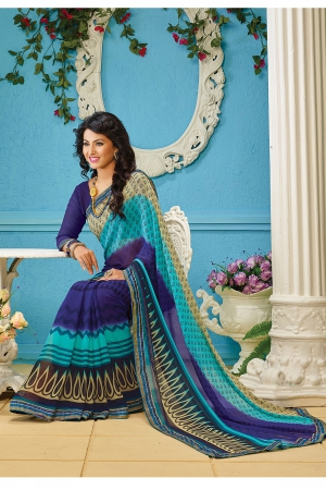 A G Lifestyle Blue Faux Georgette Saree with Unstitched Blouse AKS2026