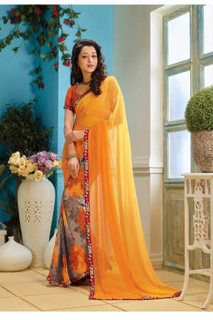 A G Lifestyle Yellow Faux Georgette Saree with Unstitched Blouse AKS2034