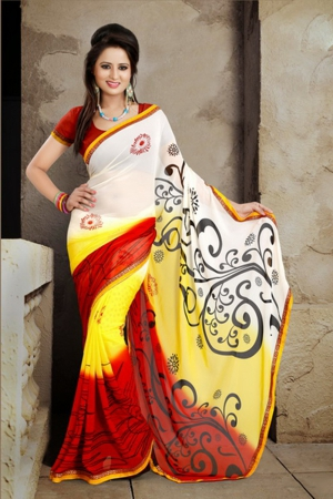 A G Lifestyle White And Red Faux Georgette Saree with Unstitched Blouse ANG2003B