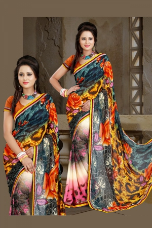 A G Lifestyle Multi Faux Georgette Saree with Unstitched Blouse ANG2009B