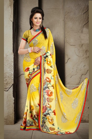A G Lifestyle Yellow Faux Georgette Saree with Unstitched Blouse ANG2011A