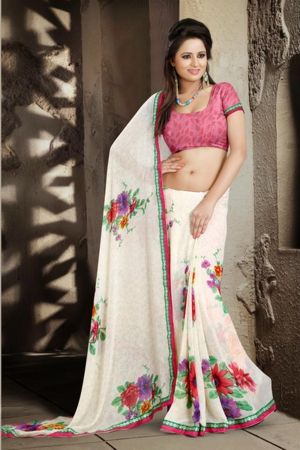 A G Lifestyle White Faux Georgette Saree with Unstitched Blouse ANG2012A