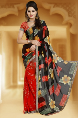 A G Lifestyle Black And Red Faux Georgette Saree With Unstitched Blouse JAS101A